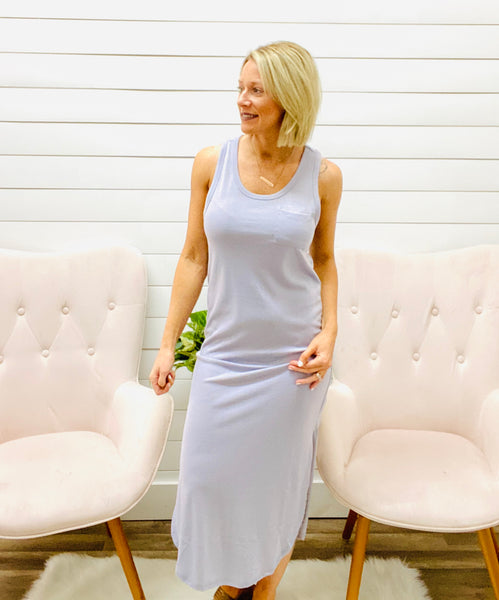 Midi Dress with Round Neck, Chest Pocket and Side Slits
