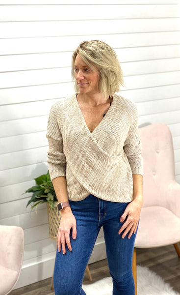 Long Sleeve, Overlap Sweater with Ribbed Cuffs & Hem, Drape Front and Chunky Knit