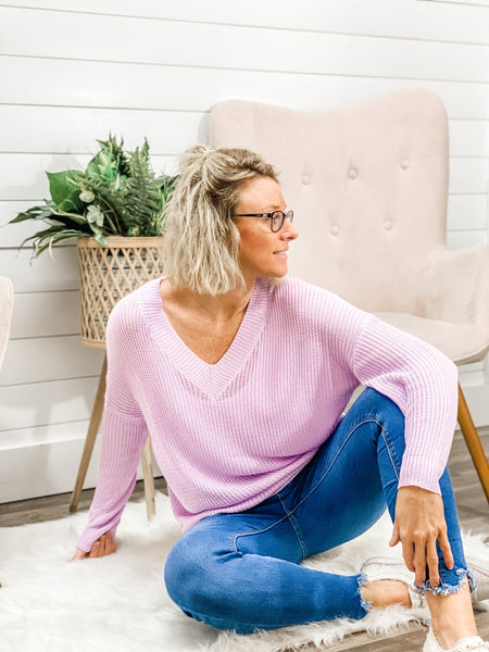 V-Neck Long Sleeve Solid Sweater