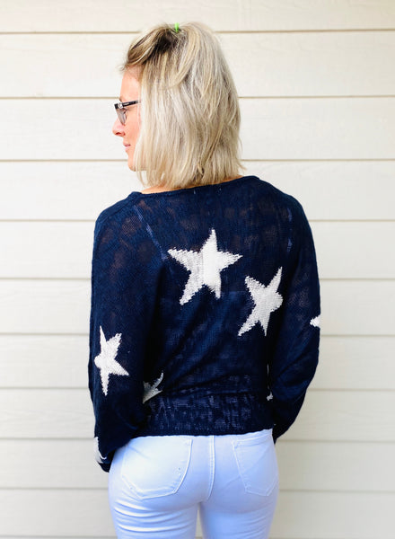 Star Print Lighweight Sweater