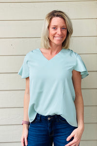 Short Bell Sleeve Casual Top