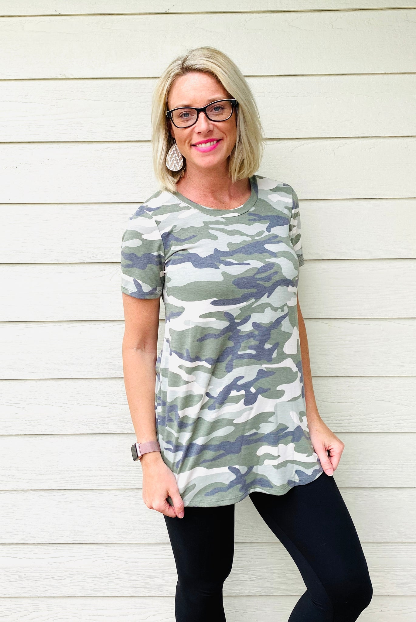 Camouflage Print Short SleeveKnit Top