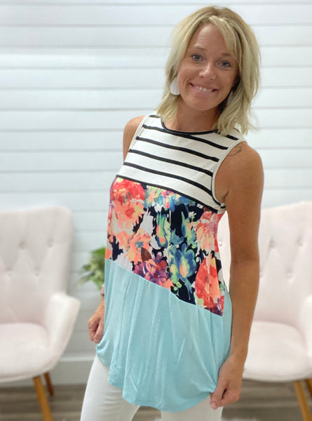 Floral Color Block Tank Top with Round Hem