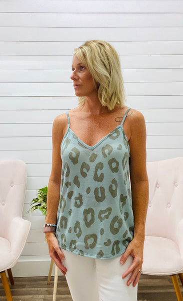 Leopard Print Hacci Sleeveless Top