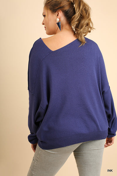 Dolman Sleeve Sweater with an Asymmetrical Neckline