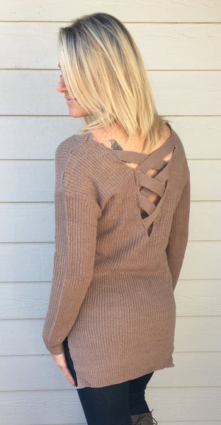 Long Sleeve Lace Up Back Knit Sweater