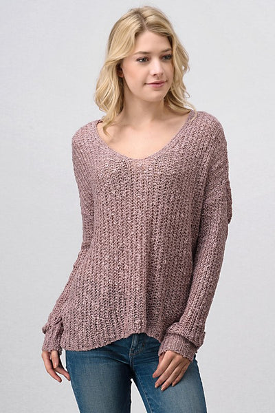 Knit Sweater with Twist Tied Back