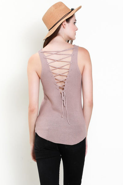 Lace Up Back Sweater Tank Top