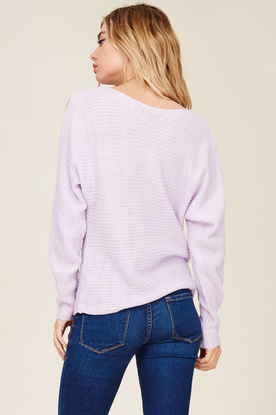 Boat Neck, Horizontal Ribbed, Dolmen Cold Shoulder, Long Sleeve, Pull Over Sweater