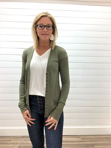 Light Olive Long Sleeve Snap Button Cardigan