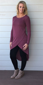Long Sleeve Modal Cupro Tunic Top with Overlapping Front and Spaghetti Strap Back