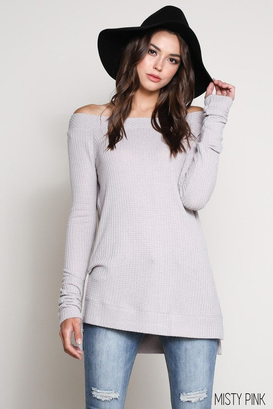 Long Sleeve Boat Neck with Side Slit