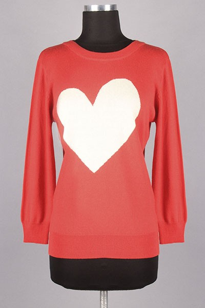 Relaxed Lightweight SoftKnit Sweater with Asymmetric Heart Print
