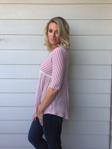 Striped, Ribbed Knit Top