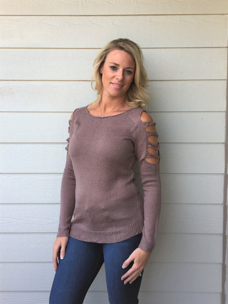 Long Sleeve Cold Shoulder Cut Out Detailed Sweater Top