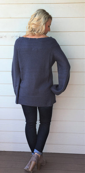Bell Sleeved Boat Neck Sweater