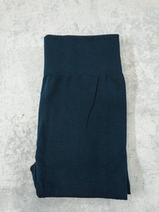 Navy Brushed, Fleece Lined Leggings with High Waist