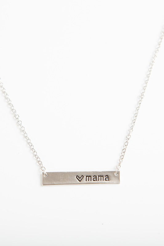 """Mama"" Bar Necklace in Silver"