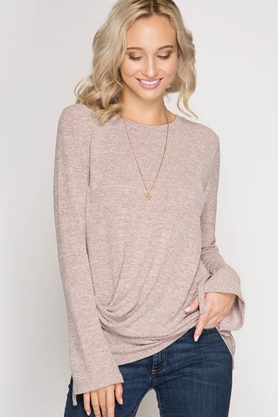 Long Sleeve, Two-Tone Knut Tunic Top with Pintuck Drape Detail