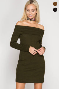 Long Sleeve Off Shoulder Dress with Open Back and Crisscross Straps