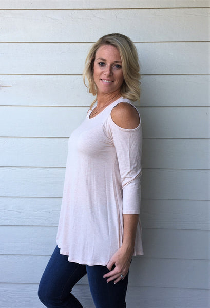 3/4 Sleeve Top with Cold Shoulders
