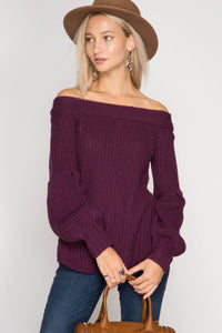 Long Balloon Sleeve Off Shoulder Sweater