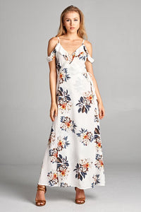 Floral Print Cold Shoulder Maxi Dress with Lining & Back Zipper