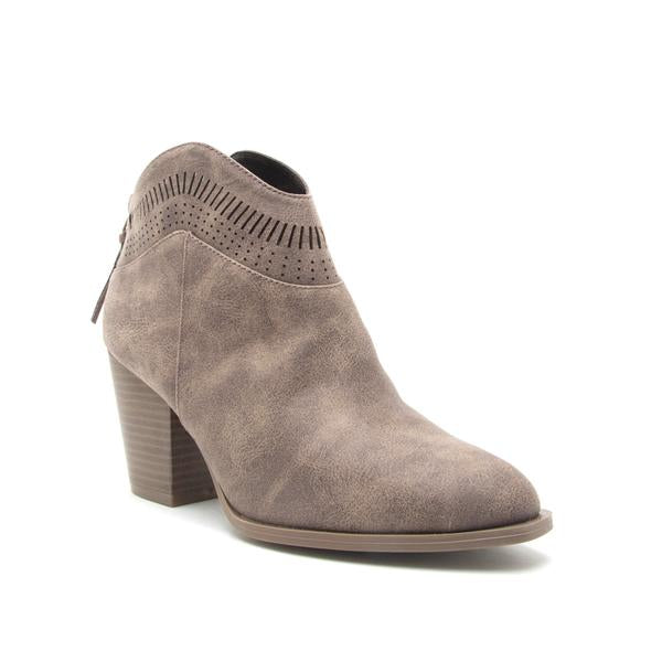 Light Brown Perforated Distress Bootie