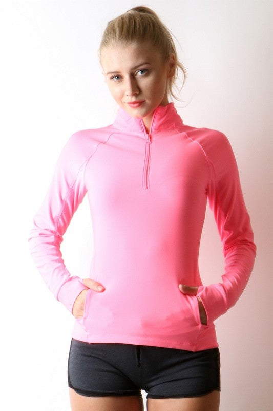 High Neck Pullover with Zipper Opening