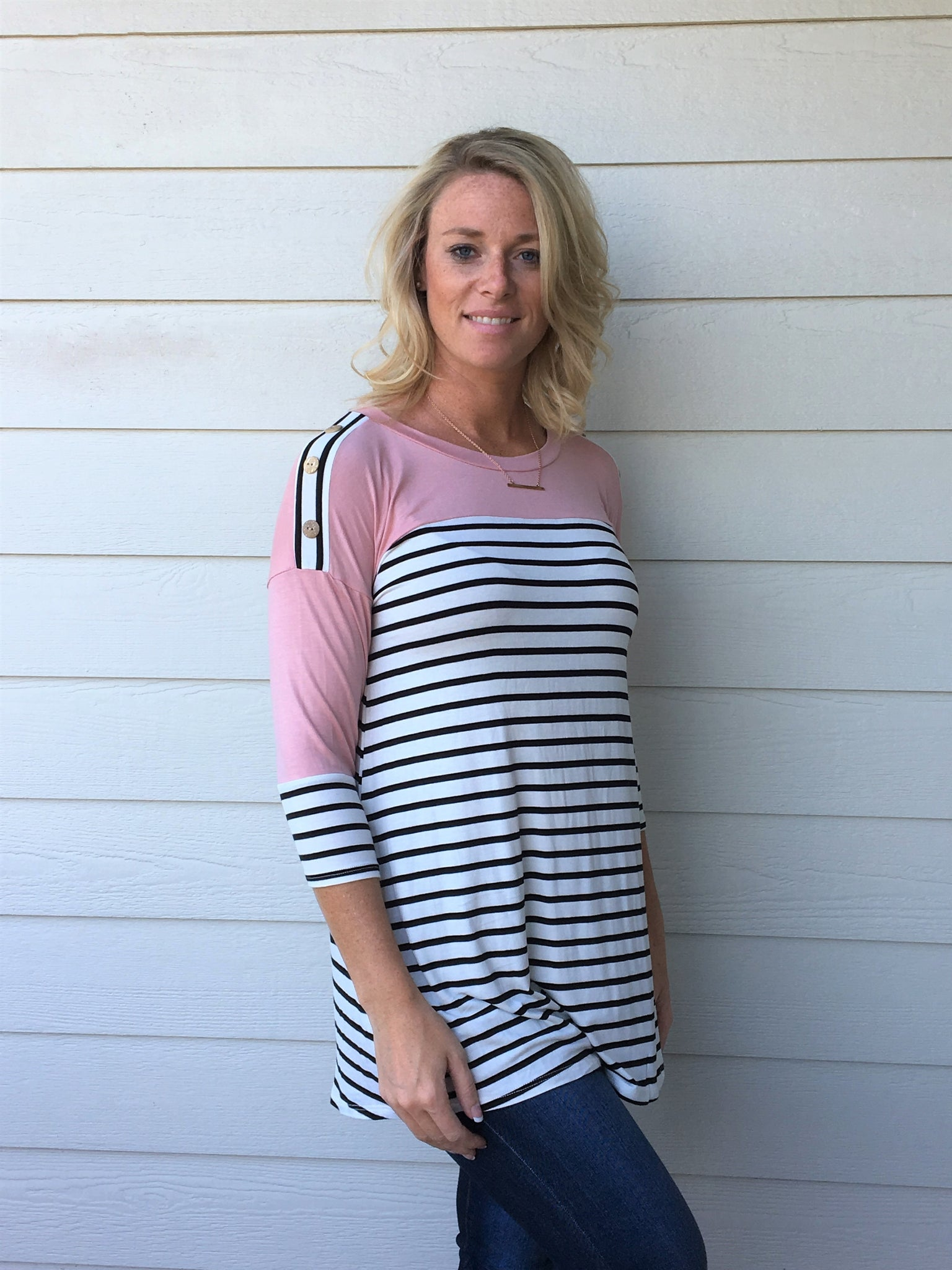 Striped 3/4 Sleeve Tunic Top