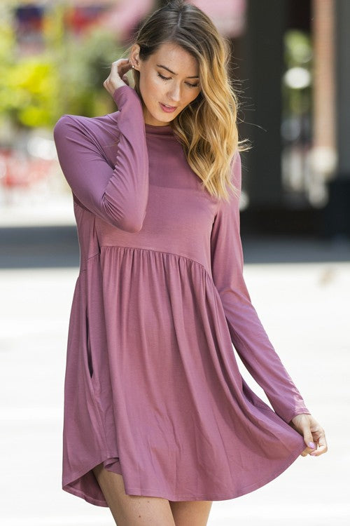 Solid Dress with Ruffles and Pockets
