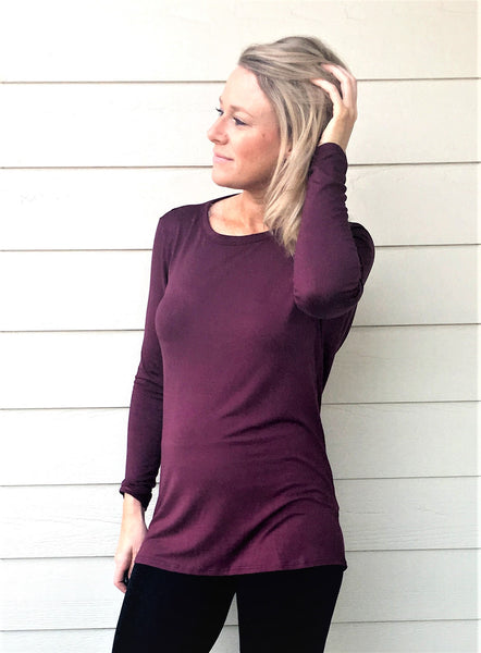Long Sleeve Top Featuring Low Back and Key-Hole Detailing