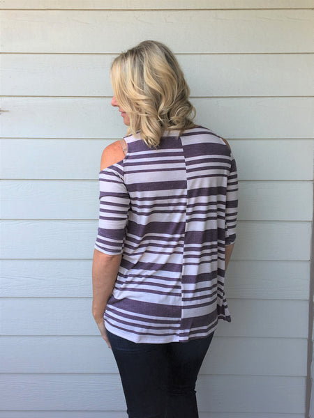 One Sided Cold Shoulder Stripe Top