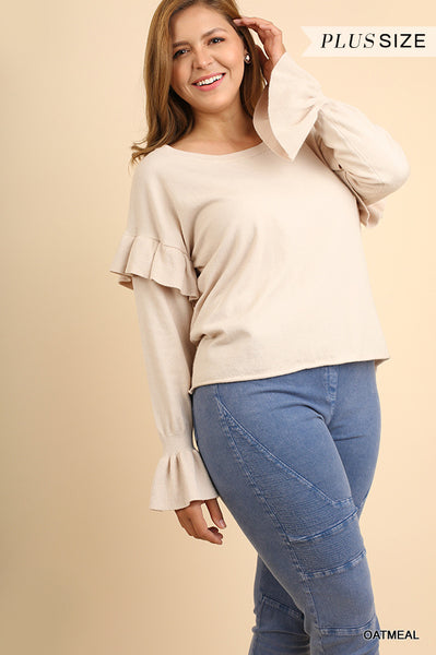 Layered Sleeve Sweater with Ruffled Details
