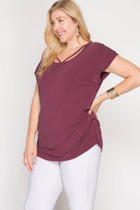 Dropped Shoulder Modal Cupro Top with Side Tucks and Front Neck Straps