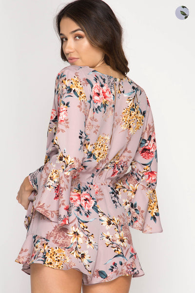 3/4 Flare Sleeve Floral Print Romper with Side Tie