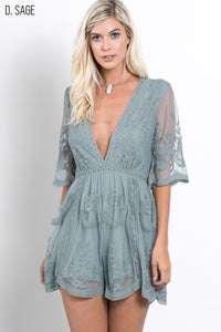Half Sleeve, Embroidered Mesh Lace with Plunging V Neck Scalloped Hem, Lined Culpotte Romper