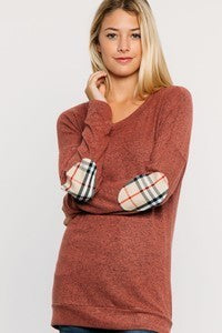 Round Neck, Elbow Patched Long Sleeve Solid Top