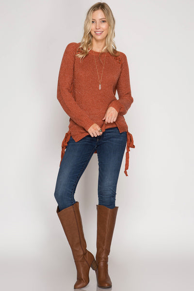 Long Sleeve Pullover Sweater with Raglan and Side Lace-Up Detail