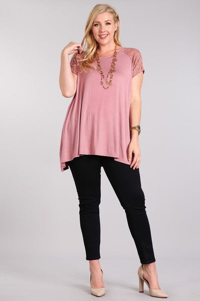 Solid Knit Top with Lace and Asymmetrical Hem Plus Size