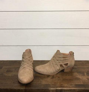 Taupe Crisscross Ankle Boot