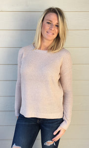 Crew Neck Long Sleeve Side Slits High & Low Basic Pull Over Sweater