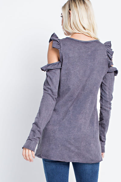 Mineral Washed Top with Cold Shoulders & Ruffled Overlay