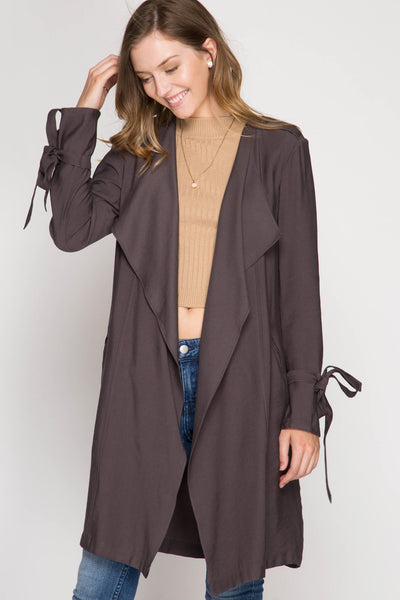 Long Sleeve Trench Coat with Sleeve Ties
