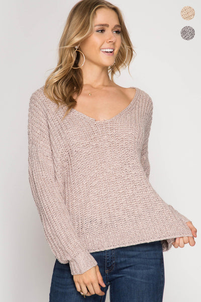 Long Sleeve Sweater with Twist Detail