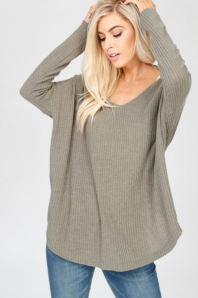 Long Sleeve Thermal Waffle Knit, Round Neck, Twisted Plunging Back Sweater