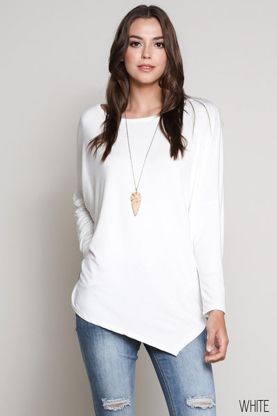 Long Sleeve, Wide Neck, Asymmetrical Top
