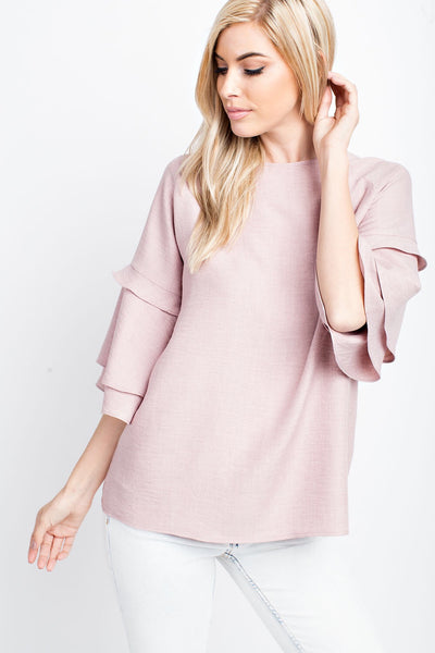 Washed Crinkle Linen Round Neck with Sleeve Detail Woven Top