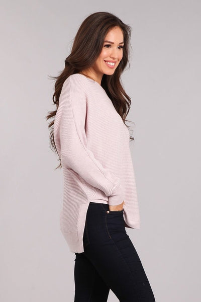 Boat Neck, Long Sleeve, Side Slit, Hi-Low Hem Knit, Tunic Top