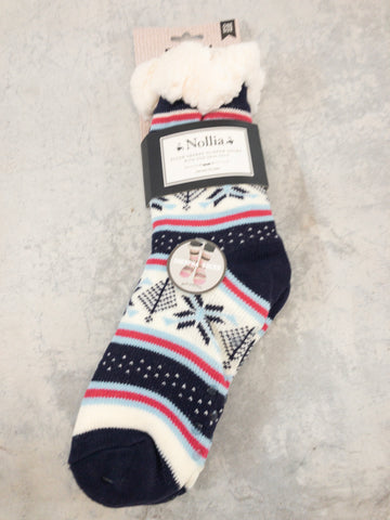 Plush Sherpa Cabin Slipper Socks with Non-Skid Sole